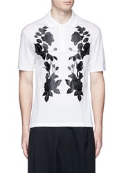 Alexander Mcqueen Floral Print Polo Shirt White Multi Colour