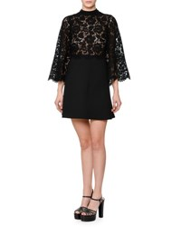 Valentino Bell Sleeve Mock Neck Lace And Crepe Dress Black
