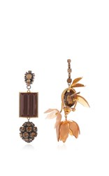 Marni Asymmetrical Earrings With Strass In Brown Gold