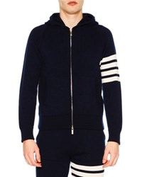 Thom Browne Zip Front Hoodie Sweatshirt W Striped Arm Navy