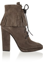 Giuseppe Zanotti Fringed Suede Ankle Boots Dark Gray