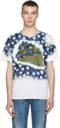 Valentino White And Blue 'Star Studded' T Shirt