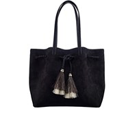 Loeffler Randall Women's Suede Drawstring Tote Bag Black Black Natural