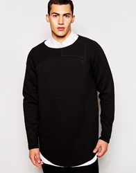 2 X H Brothers 2Xh Brothers Longline Waffle Sweatshirt In Loose Fit Black