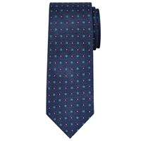 Chester Barrie By Square Flower Silk Tie Blue