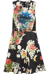 Clements Ribeiro Andrea Lace Paneled Printed Cotton And Silk Blend Twill Mini Dress Black