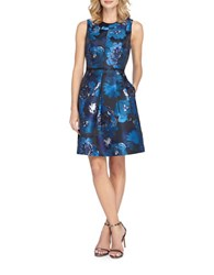 Tahari By Arthur S. Levine Floral Printed Metallic A Line Dress Navy