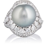 Zoe Women's Tahitian Pearl And Diamond Cocktail Ring No Color