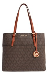Michael Michael Kors 'Bedford' Top Zip Coated Canvas Pocket Tote