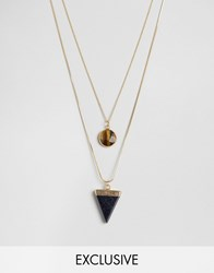Designb London Triangle And Stone Necklaces In 2 Pack Gold