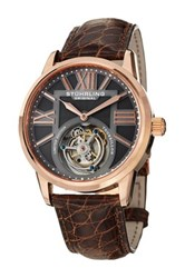 Stuhrling Men's Grand Imperium Tourbillon Genuine Alligator Strap Watch Brown