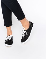 Keds Champion Canvas Black And White Plimsoll Shoes Black And White