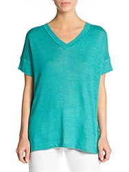 Lafayette 148 New York Draped V Neck Pullover Aquarium