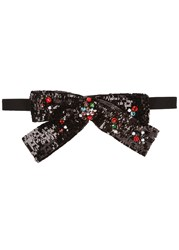 Gucci Black Sequinned Bow Choker