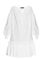 Giles Gathered Skirt Poplin Dress White