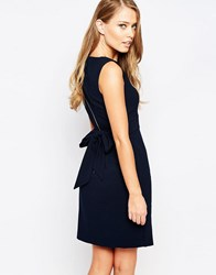 Closet Tie Back Midi Dress With Split Front Navy