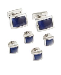 Ryan Seacrest Distinction Men's Rhodium Royal Blue Cufflinks And Inserts Set Only At Macy's Silver Blue