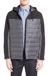Men's Kenneth Cole New York Mixed Media Quilted Hooded Jacket