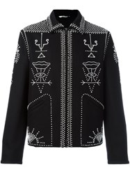 Valentino Embellished Shirt Jacket Black