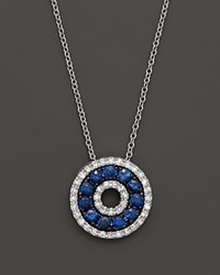 Bloomingdale's Diamond And Sapphire Circle Pendant Necklace In 14K White Gold 18 Multi