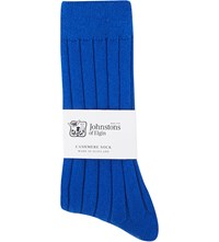 Johnstons Ribbed Cashmere Blend Socks Lapis Blue