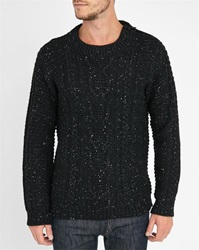 Eleven Paris Mottled Black Mof Large Stitches Shoulder Zip Sweater