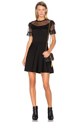Red Valentino Tulle Bodice Fit And Flare Dress Black