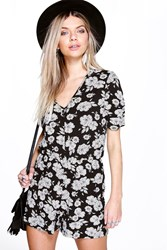 Boohoo Capped Sleeve Button Front Playsuit Black