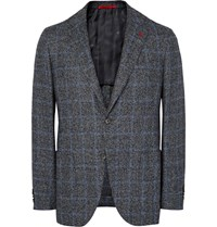 Isaia Grey Slim Fit Checked Tweed Blazer Gray