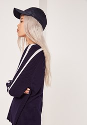 Missguided Satin Baseball Cap Navy Blue