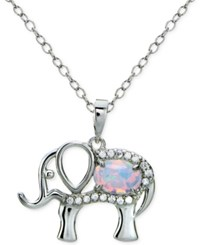 Giani Bernini Cubic Zirconia And Iridescent Stone Elephant Pendant Necklace In Sterling Silver Only At Macy's