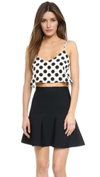Shakuhachi Silk Dot Crop Top White Polka Dots