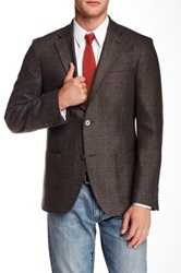 Ike Behar Plaid Notch Lapel Two Button Sportcoat Brown