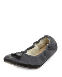 Bernardo Blizzard Leather Ballerina Flat Black