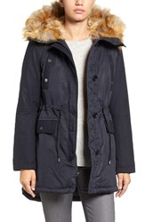 French Connection Women's Hooded Parka With Faux Fur Trim Utililty Blue