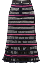 Sacai Striped Mesh And Grosgrain Maxi Skirt