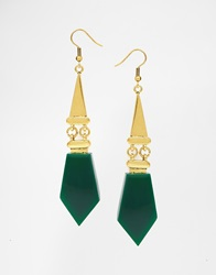Little Mistress Emerald Deco Drop Earrings Gold