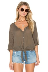 Michael Stars Gauze Mix Button Tie Front Top Olive