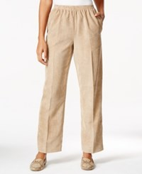 Alfred Dunner Pull On Solid Corduroy Pants Tan