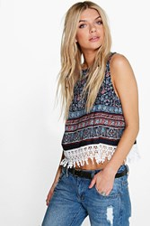Boohoo Floral Crochet Trim Top Blue