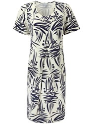 Pure Collection Talia Cocoon Dress Navy Bamboo Print