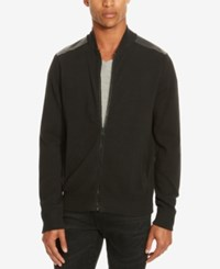 Kenneth Cole Reaction Men's Mixed Media Sweater Jacket Black