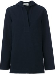 Christophe Lemaire Lemaire Relaxed Fit Textured Blouse Blue