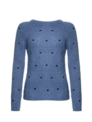 Yumi Butterfly Embroidered Jumper Blue