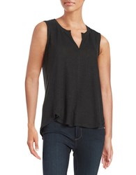 Lord And Taylor Split Neck Tank Black