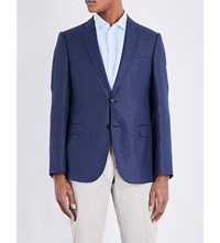 Armani Collezioni Checked Single Breasted Wool Jacket Navy