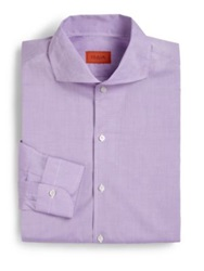 Isaia Regular Fit Solid Riva Cotton Dress Shirt Light Blue Coral
