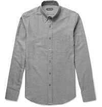 Tom Ford Slim Fit Button Down Collar Waffled Cotton Shirt Gray