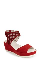 Women's Gabor Grid Perforated Platform Sandal Rosso Nubuck Leather