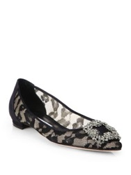 Manolo Blahnik Hangisi Jeweled Lace Ballet Flats Black